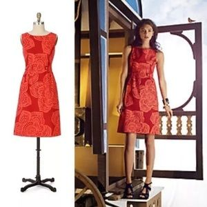Anthropologie red and orange Tabitha lotus dress